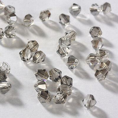 Free DIY jewelry 100pcs 5301 Austria Crystal 3mm bicone Beads Transparent Grey