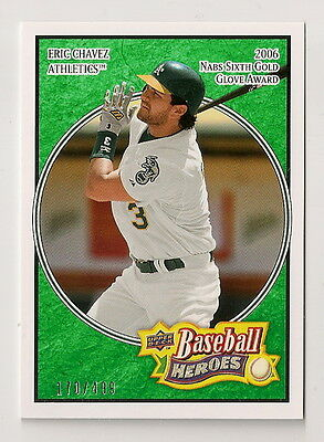 2008 UD Heroes Eric Chavez EMERALD #128 A's 170/499 *A1IW