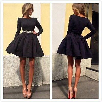 New Fashion  Women Long Sleeve Prom Gown Party Evening Cocktail Short Dress NIGH