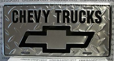 Chevy Trucks License Plate Aluminum Embossed Sign Car Tag Auto GM Diamond Silver