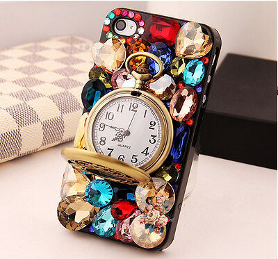 Colorful crystal Retro watch Finished HARD Case cover for apple iPhone 4 4S a221