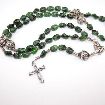 Sterling Silver Catholic Cross Green Art Glass Bead Heart Rosary Necklace