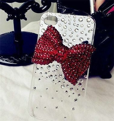 New 3D Bling handmade RED BOW crystal hard Case cover for iPhone 5c !!