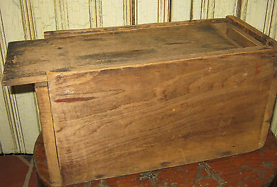 Antique Old Early American PRIMITIVE CANDLE BOX Slide Top Lid WOOD Vintage
