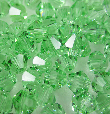 Jewelry making 100pcs 4mm #5301 colorful Bicone glass crystal beads Green NEW