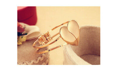 Fashionable Women 14K Gold Filled parted Heart Bracelet & Bangle Jewelry H399