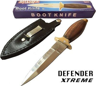 "7"" Survival Tactical Hunting Boot Knife Leather Sheath Wood Handle Stainless"