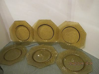 Lot  6 1920s L.E. SMITH DEPRESSION GLASS AMBER CRACKLE PATTERN PLATES By Cracky