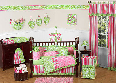 DESIGNER PINK AND LIME GREEN 9pc BABY GIRL CRIB BEDDING COMFORTER SET COLLECTION
