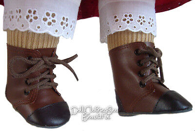 Brown 2 Tone 1800 Frontier Style Boots for Historical American Girl Doll Clothes