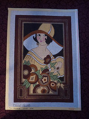 Vtg Hand Painted Plaid Thistle Art Deco Lady Flower Valerie Needlepoint Canvas