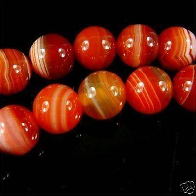 8mm red stripe Turquoise Round Gem loose Beads 15''