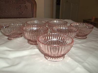 DEPRESSION GLASS PINK QUEEN MARRY SEVEN SHERBETS.....AWESOME GROUP!