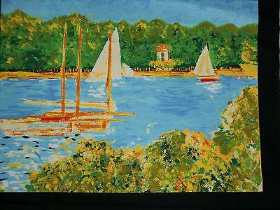 "Monet  ""Red Boats""  Watercolor on Fabric   Set of 2--  12"" X 9"""