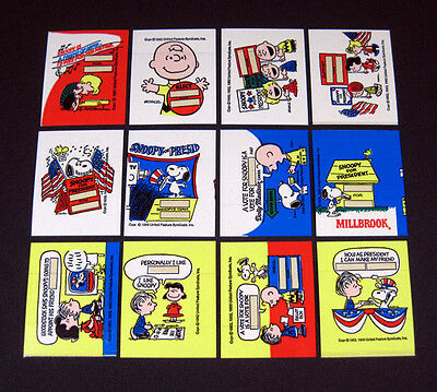 1970's Dolly Madison Snoopy For President Sticker Set (12) Nm/Mt