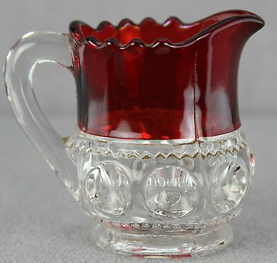 ESTATE - ANTIQUE PRESSED GLASS INDIVIDUAL CREAMER KING'S CROWN RUBY STAINED 3""