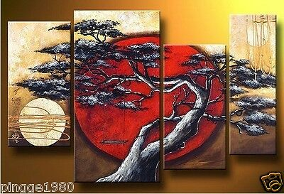 MODERN ABSTRACT HUGE WALL ART OIL PAINTING ON CANVAS 4PCS (no framed) P007