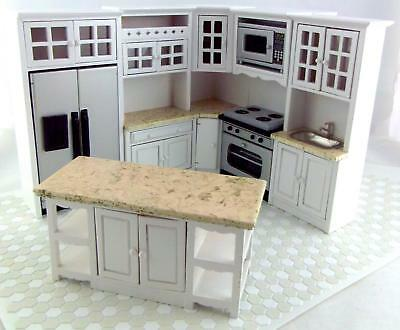 Dolls House Miniature Fitted Kitchen Furniture Set White with Marbled Worktops