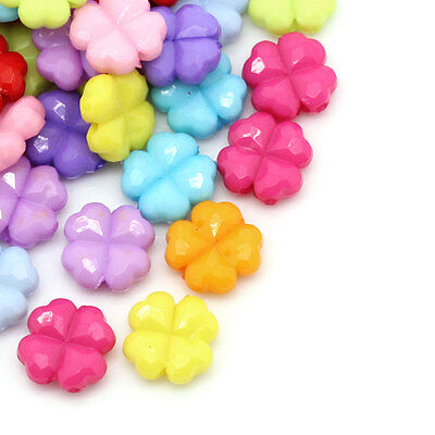 """200PCs Acrylic Spacer Beads Four Leaf Clover Mixed 12mmx12mm(4/8""""x4/8"""")"""