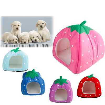 Soft Strawberry Pet Dog Cat Bed House Kennel Doggy Warm Cushion Basket S RoseRed
