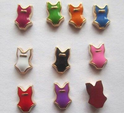Mix 10PCS Swimming suit floating charm DIY for glass living memory locket #762