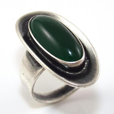 Vintage N.E. From Denmark Sterling Silver Green Onyx Ring Size 6.5