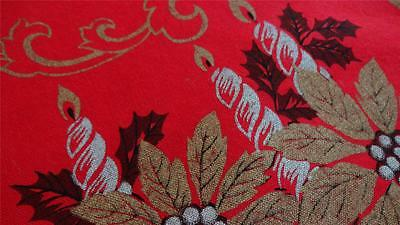 """STUNNING Vtg Christmas Holiday RECTANGLE Tablecloth GOLD on RED 48x67"""""""