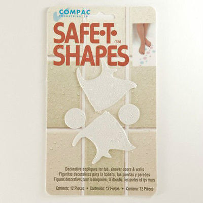Safe-T-Shapes White Fish Non-Slip Safety Applique Decal Stickers Bath Tub Shower