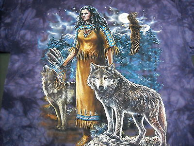 NEW ADULT INDIAN PRINCESS  WITH GRAY WOLF WOLVES TYE DYE NATURE T-SHIRT  LARGE