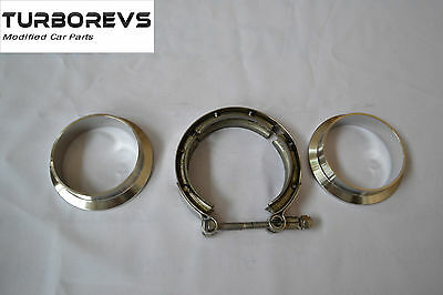 """Heavy Duty Stainless Steel V-Band 76Mm 3"""" Exhaust Downpipe Decat Clamp Flange"""