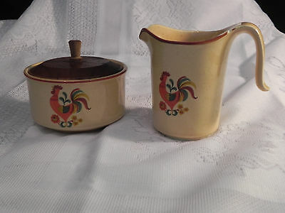 """Taylor Smith Taylor """"Reville Rooster"""" Vintage Sugar Bowl and Creamer"""