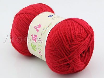 1x50g Cashmere Soy Cotton Baby Yarn Lot,DK,Red,222