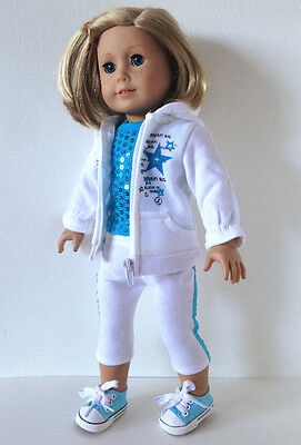 Doll Clothes Blue Top + Hoodie+Capri +Sneakers fit American Girl Doll 302S