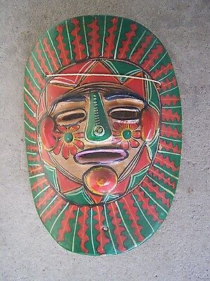 1960s Clay Mask - Painted Green and Red Sunburst - Mexico