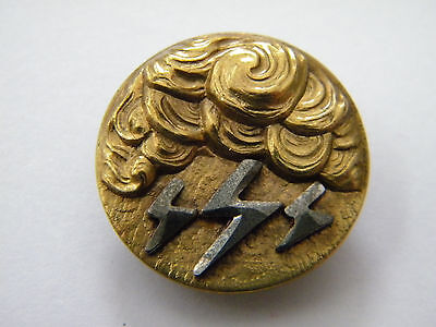 Antique vintage brass metal picture button cut steel victorian lightning storm