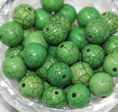 Wholesale 50pcs Green Carved Round Loose Turquoise Beads Jewelry Making 6mm