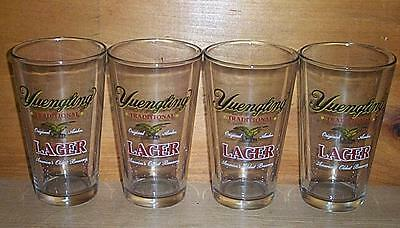 YUENGLING BREWERY  4 LAGER LOGO BEER PINT GLASSES NEW