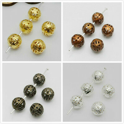 4mm,6mm,8mm,10mm,Round Filigree Spacer Beads Plated Gold,Silver,Copper,Bronze