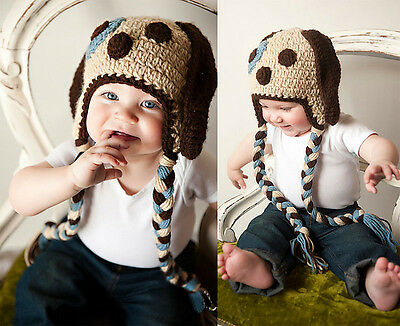 Blue Baby Girl Boy 3-24M Knit Crochet Photo Prop Dog Puppy Tail Hat Cap Outfit