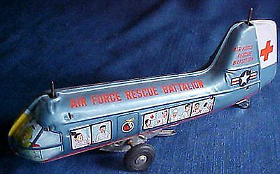 Vintage 1950s Marx Wind up Air Force Rescue Batallion Tin Litho Helicopter Japan