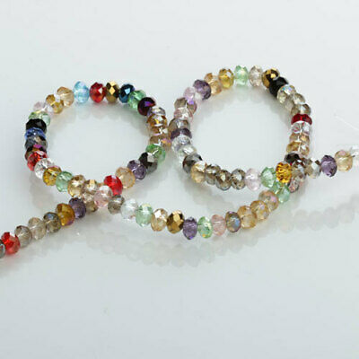 100x Glass Crystal Faceted Rondelle Bead for Bracelet Necklace Jewelry Making
