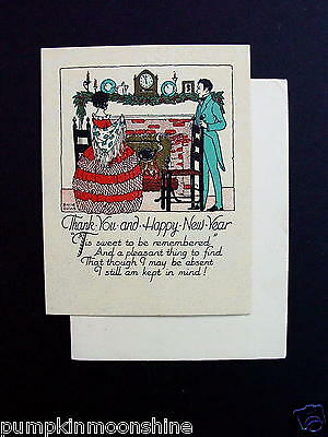 Vintage Unused 1900's Xmas Greeting Card Hand Colored Victorian Couple