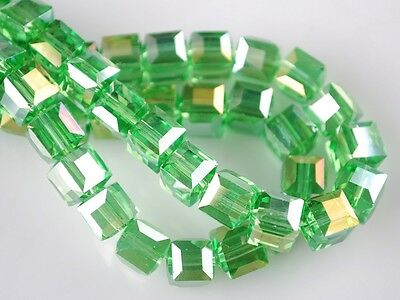 50pcs 6mm Faceted Glass Crystal Cube Square Charm Loose Spacer Beads Lt Green AB