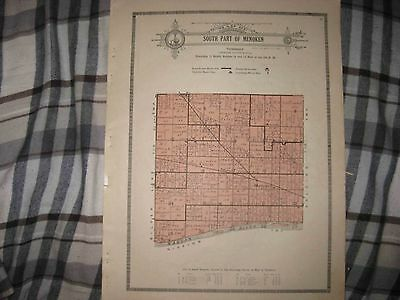 Antique 1921 South Part Menoken Township Shawnee County Kansas Map W Land Owners