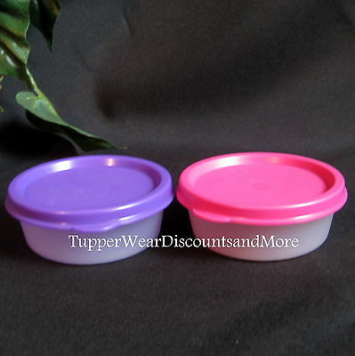 Tupperware NEW Set of 2 MINI Clear Snack Cup Cups Bowl Lunch PINK  Purple Seal