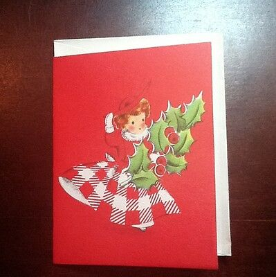 #473- Vintage Unused Norcross Xmas Greeting Card Red Gingham Girl & Holly