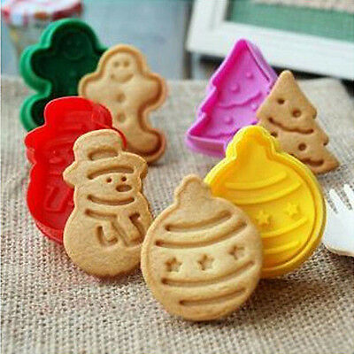 ZZLAM 4PCS Diy Fondant Cake Pastry Cookies Plunger Cutter Mold Decorating Tool