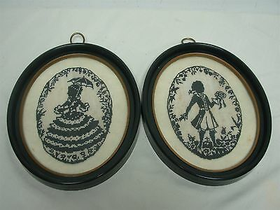 PAIR OF VINTAGE FRAMED HAND STITCHED NEEDLEPOINT SILHOUETTE of LADY & GENT