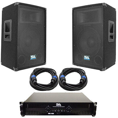 """Pair of 12"""" PA DJ Speakers with Amplifer & 25' Cables Pro Audio LoudSpeakers Amp"""