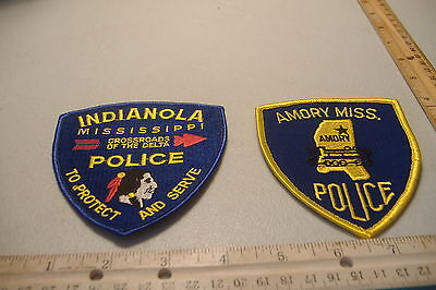 ~INDIANOLA & AMORY~MISSISSIPPI  POLICE PATCHES~MINT~